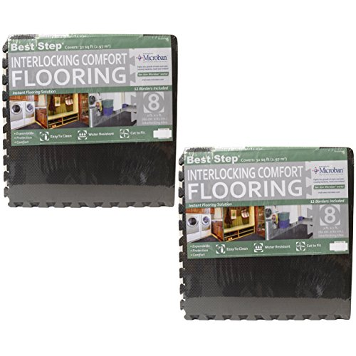 Best Step Interlocking Comfort Flooring. (2) 8 Packs plus Borders (2' x 2' x 3/8') (one Pack of 8 Tiles = 32 sq. ft.) Anti-Fatigue, Microban Protected, Charcoal Gray Foam Flooring
