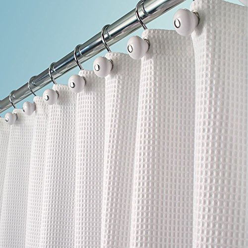 mDesign Hotel Quality Polyester/Cotton Blend Fabric Shower Curtain, Rustproof Metal Grommets - Waffle Weave for Bathroom Showers and Bathtubs - 72' x 72', White
