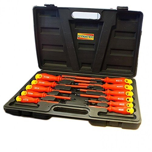 Electricians Screwdriver Set Tool Electrical Fully Insulated 11 Pc Piece Kit With Case by DYNATEC