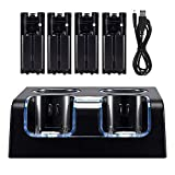 Wii Charger Station for Wii Controller, Wii Remote Charger with 4 Rechargeable Batteries USB Charging Cord LED Indicator -Black