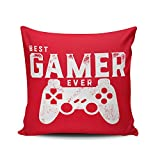 Fanaing Red and White Best Gamer Ever for Video Games Geek Pillowcase Home Sofa Decorative 18X18 Inch Square Throw Pillow Case Decor Cushion Covers One-Side Printed