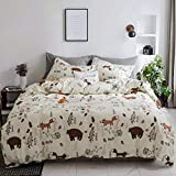 CLOTHKNOW Toddler Kids Bear Duvet Cover Sets Yellow Child Twin Size Bedding Sets Woodland Theme Girls Boys Gift Fox Animal Forest 100 Cotton Set of 3-1 Duvet Cover Zipper Closure 2 Pillowcases