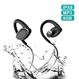 Bluetooth Headphones Waterproof IPX8, Wireless Earbuds Sport, Richer Bass HiFi Stereo in-Ear Earphones w/Mic, OVEVO,Case, 8 Hrs Playback Noise Cancelling Headsets (Comfy & Fast Pairing),8GB MP3.