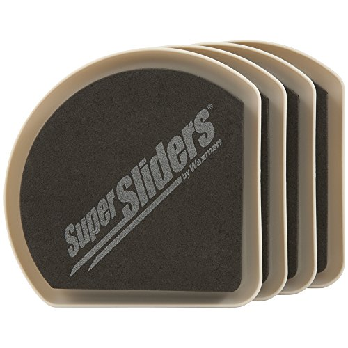 "SuperSliders 4734195N Reusable Slide and Hide Furniture Movers for Carpet- Square Edge for Walls & Corners- Stays Hidden Under Furniture, 5"" Linen (4 Pack)"