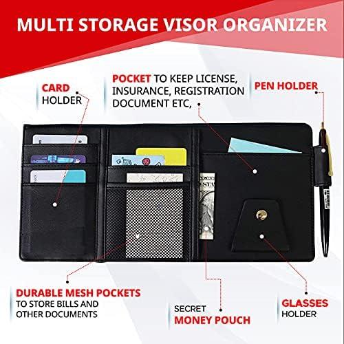 EcoNour Car Sun Visor Organizer | Multi-Pocket Car Organizer | Sunglasses Holder for Car | Visor Auto Interior Car Accessories | Cards, Pen Holder | Travel Accessories | Visor Document Holder 16