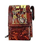 Egyptian Cigarette Case Cover Case Box Pack & Lighter Holder Genuine Leather Cigar Protective Lightweight Accessories Handcrafted Handmade Pharaoh Egypt Pharaohs Souvenir Hieroglyphics Isis Horus 221