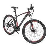 Murtisol Aluminum Mountain Bike 27.5'' Hybrid Bicycle with Dual Disc Brake, Shimano 21 Speeds Derailleur, Light Weight Frame, Suspension Fork, Adjustable Seat,Red Black