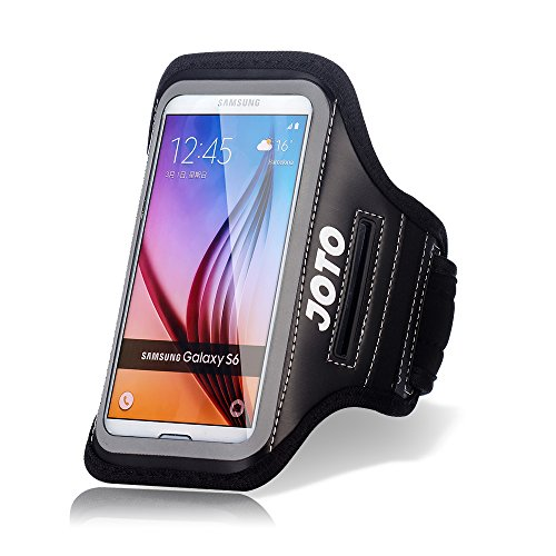 JOTO Galaxy S6 / S6 Edge Armband, Sport Armband Case for Samsung Galaxy S6 / S6 Edge, with Key Holder, Credit Card/Money Holder, Sweat Proof, Best for Gym, Sports Fitness, Running (Black)