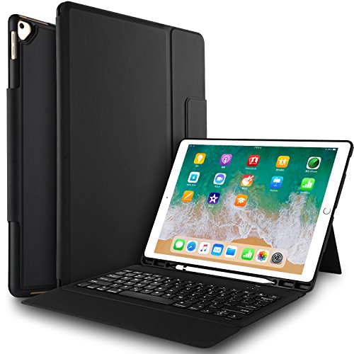 IVSO Case with Keyboard for ipad pro 12.9-One-Piece Wireless Keyboard Stand Case with Pencil Slot for Apple ipad pro 12.9' 1st Gen 2015 / ipad pro 12.9' 2nd Gen 2017 (Not fit for 2018 Version)(Black)
