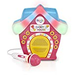 Singing Machine Kids Candy House Portable Bluetooth Sing-Along Speaker with LED Lit Microphone and Rooftop (SMK470)