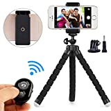 Phone Tripod, Camare Tripod - Kitway Portable 360 Degree Spherical Camera Stand Holder with Wireless Remote and Universal Clip Compatible with iPhone, Android Phone, Camera(Black)