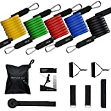 Mpow 150 LBS Resistance Bands Set, Resistance Bands with Handles, 5 Stackable Exercise Bands with Door Anchor, Ankle Straps, Guide Book, Heavy Resistance Tube Bands, Portable Tube Band