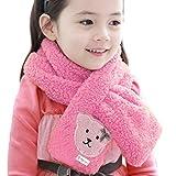Lookatool Kids Bear Pattern Coral Velvet Neck Collar Baby Warm Shawl Scarves (Pink)