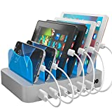Hercules Tuff Fast Charging Station for Multiple Devices - Organize your home or Business! 6 port multi USB Charger cables included (3 Types) - lphone, lpad, Samsung, bluetooth, kindle (ETL Certified)