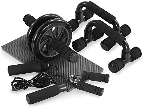 TOMSHOO 5-in-1 AB Wheel Roller Kit AB Roller Pro with Push-UP Bar, Hand Griper, Jump Rope and Knee Pad - Portable Equipment for Home Exercise, Workout (Upgraded Version) 3