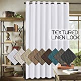 H.VERSAILTEX White Linen Curtains Ultra Thick and Durable Thermal Insulated Patio Curtain (W100 x L84) Grommet Decorative Sliding Door Panel, 7ft Tall by 8.5ft Wide - Pure White (Set of 1)