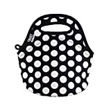 BUILT LB10-BBW Gourmet Getaway Mini Soft Neoprene Lunch Tote Bag-Lightweight, Insulated and Reusable, Snack, Big Dot Black & White