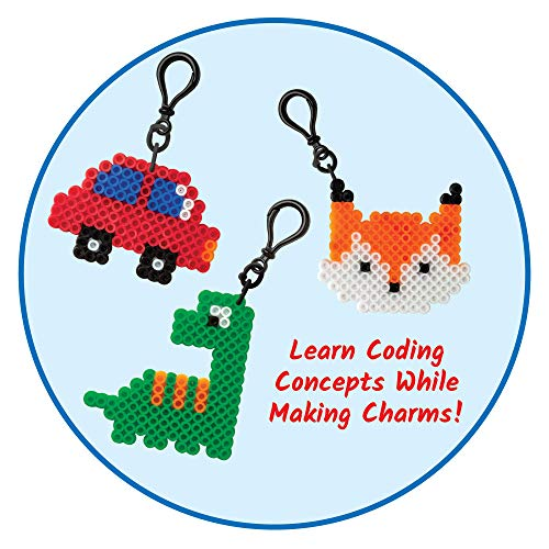 hand2mid Coding Charms, 15 Science Experiments, Coding for Kids Ages 8-12, Activity Book, Colorful Fuse Bead Patterns, Kids Coding, Fuse Bead Kit 18 Designs and 15 Key Chains, 2000 Fuse Beads