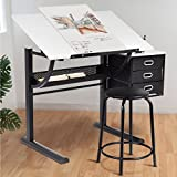 TANGKULA Drafting Table Art & Craft Drawing Desk Art Hobby Folding Adjustable w/Stool and Drawers Craft Station (White with 3 Drawers)