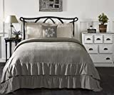 Ruffled Chambray Reversible Full-Queen Quilt, 90x90, Farmhouse Decor, Gray and Beige