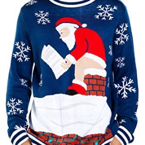 Tipsy Elves Men's Santa Pooping Ugly Christmas Sweater – Funny Santa Xmas Sweater