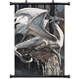 Home Decor Art Poster with White Dragon Fantasy Mobile Wallpaper Wall Scroll Poster Fabric Painting 23.6 X 35.4 Inch (60cm X 90 cm)