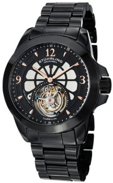 Stuhrling Original Men's 475.33OB41 Tourbillon Specter Limited Edition Mechanical Black Ceramic Watch