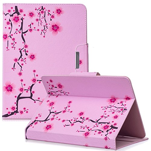 Casii Universal Case for 9.5-10.5 Inch Tablet, Slim Lightweight PU Leather Protective Case Cover Cartoon Cute Flip Folio Stand Wallet Case for All 9.5 Inch to 10.5 Inch Tablet-Pink Flowers