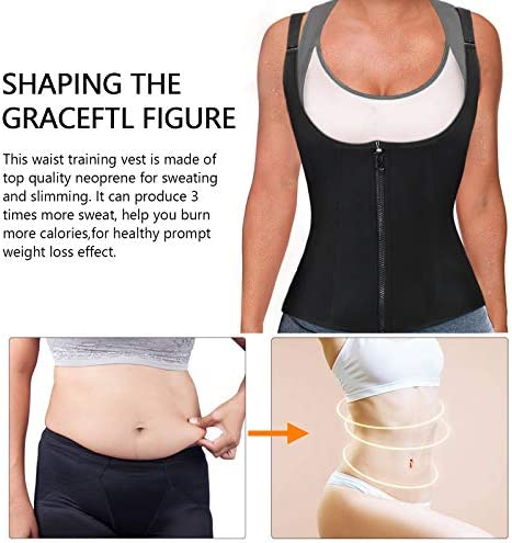 Women Waist Trainer Corset, Zipper Vest Body Shaper Cincher, Shapewear Slimming Sports Girdle, Neoprene Sauna Tank Top with Adjustable Straps 5