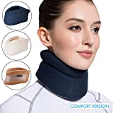 Velpeau Neck Brace -Foam Cervical Collar - Soft Neck Support Relieves Pain & Pressure in Spine - Wraps Aligns Stabilizes Vertebrae - Can Be Used During Sleep (Comfort, Blue, Large, 3″)