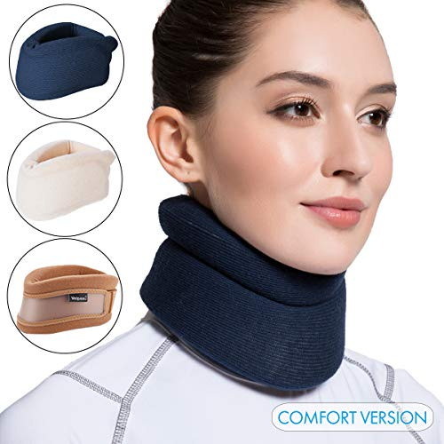 Velpeau Neck Brace -Foam Cervical Collar - Soft Neck Support Relieves Pain & Pressure in Spine - Wraps Aligns Stabilizes Vertebrae - Can Be Used During Sleep (Comfort, Blue, Medium, 3″)