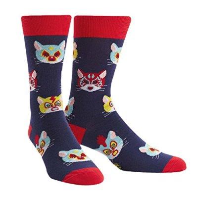 Sock It To Me, Gato Libre, Men's Crew Socks, Wrestling Cat Socks