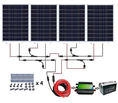 ECO-WORTHY 400 Watt 24V Solar Panels Kits: 4pcs 100W Solar Panel + 45A PWM  Charge Controller + Solar Cable+ Z Mounting Brackets + Y Branch MC4