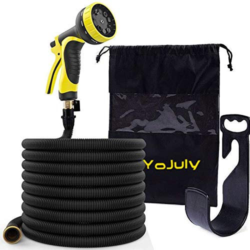 YOJULY Garden Hose-100ft Expandable Hose - Heavy Duty Flexible Leakproof Hose - 9-Pattern High-Pressure Water Spray Nozzle & Bag & Plastic Holder.No Kink Tangle-Free Pocket Water Hose (100FT)