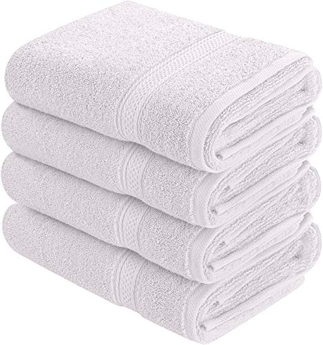 Utopia Towels Cotton Hand Towels, 4 Pack Towels, 600 GSM, White