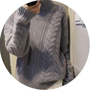 world-palm Autumn Winter Women's New Half-high Collar Cashmere Sweater Loose Asymmetric Twist Short Sweater