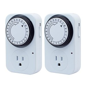 16A/1800W 24 Hour Heavy Duty Timer Switch, 15 Minute Increments, Plug-in Mechanical Outlet Timer, UL Listed , 2-Pack