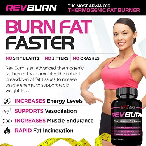 Rev Labs | Rev Burn | Thermogenic Fat Burner | The #1 Ground Breaking Fat Burning Amplifier Diet Pill for Men and Women, Carb Blocker & Appetite Suppressant, Weight Loss Pills, 60 Cap 4