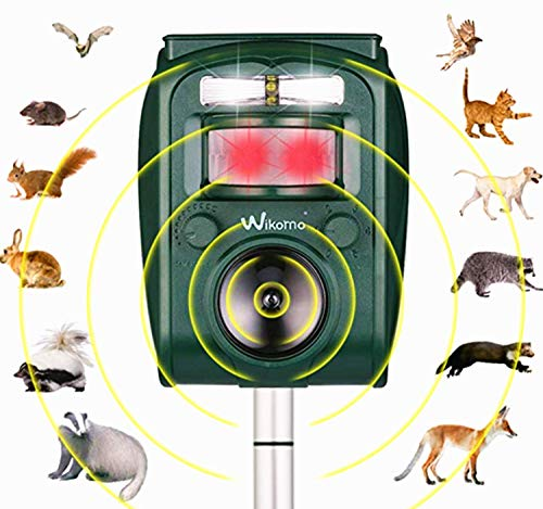 Wikomo Ultrasonic Repeller Solar Powered Animal Repeller, Motion Sensor and Flashing Light Anima; Repeller for Cats, Dogs, Squirrels, Moles, Rats