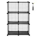 SONGMICS Metal Wire Cube Storage,6-Cube Shelves Organizer,Stackable Storage Bins, Modular Bookcase, DIY Closet Cabinet Shelf, 24.8'L x 12.2'W x 36.6'H, Black ULPI111H