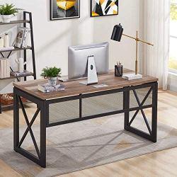BON AUGURE Industrial Office Computer Desk, Wood and Metal Writing Gaming Desk, Workstation Desk for Home Office (60 Inch, Vintage Oak)