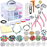 PP OPOUNT Deluxe Jewelry Making Supplies Kit Includes Assorted Beads, Charms, Findings, Bead Wire and Cord, Pliers, Cutters, Tweezers, Caliper and Storage Case for Necklace, Bracelet, Earrings Making
