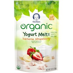Gerber Organic Yogurt Melts Fruit Snacks, Banana and Strawberry, 1 Oz