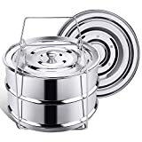 Secite Stackable Insert Pans Compatible with Instant Pot Accessories 6/8 qt, Stainless Steel Food Steamer for Pressure Cooker,Baking, Reheating-Two Interchangeable Lids Included