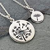 Mother Daughter Dandelion Set of Two Necklaces - 925 Sterling Silver