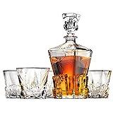 Iceberg Whiskey Decanter and Whiskey Glasses Set by Ashcroft Fine Glassware. 5 Piece Set.