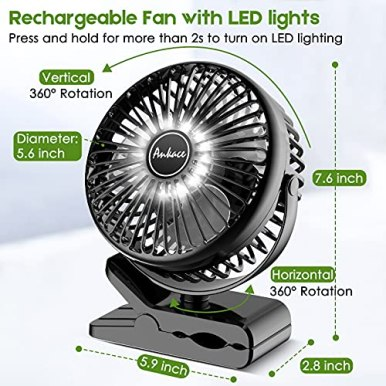 10000mAh-Portable-Fan-Rechargeable-Battery-Operated-Desk-Fan-Clip-on-Fan-with-LED-Light-3-Modes-360-Rotation-Personal-USB-Small-Fan-for-Outdoor-Camping-Golf-Cart-Indoor-Gym-Treadmill-Office