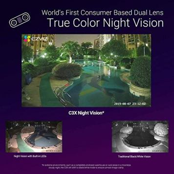 EZVIZ-Outdoor-Security-Camera-Dual-Lens-1080P-Excellent-Color-Night-Vision-Active-Light-Siren-Alarm-with-PIR-Motion-Detection-Weather-Proof-Two-way-Talk-the-First-Dual-Lens-Security-CameraC3X
