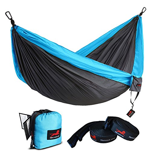 HONEST OUTFITTERS Single Camping Hammock with Basic Hammock Tree Straps,Portable Parachute Nylon Hammock for Backpacking Travel Grey/Blue 55' W x 108' L