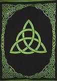 "India Arts Celtic Trinity Knot Tapestry Heavy Cotton Spread 98"" x 70"" Twin Green"